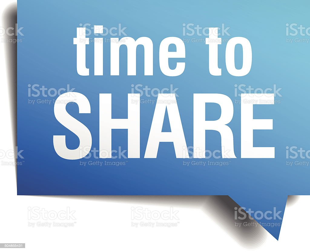 time to share blue 3d realistic paper speech bubble vector art illustration