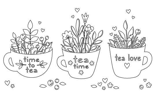 Time to tea. Set of hand-drawn tea cups with herbs, flowers and berries. Outline coloring book in cartoon doodle style. Black lines isolated on a white. Beautiful tea mug with bouquet. Vector print.
