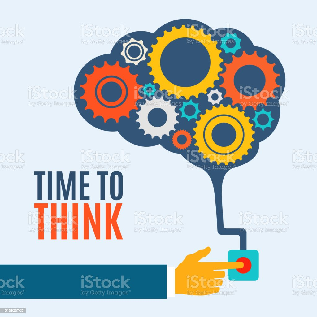 Time to think, creative brain idea concept, background vector art illustration