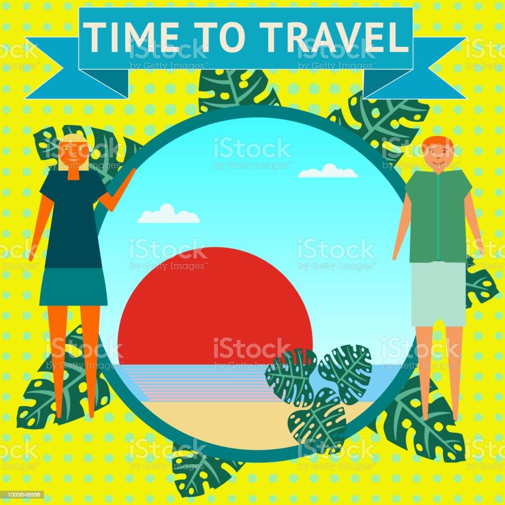 Ilustración De Tiempo Para Viajar Un Hombre Y Una Mujer Ven El