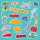 Time to Travel Adventure Doodle. Stickers, Badges