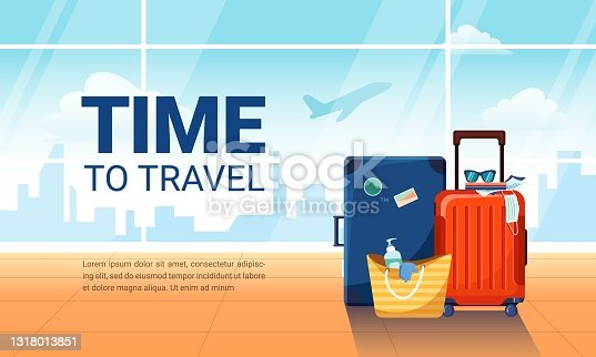 istock Time to travel banner. Airport interior with suitcases and plane taking off on background 1318013851