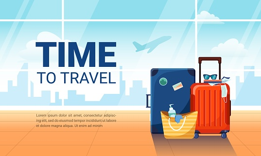 Time to travel banner. Airport interior with suitcases and plane taking off on background