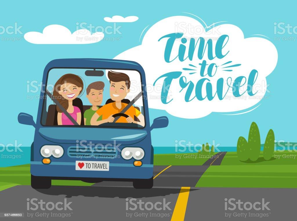 Hora de viajar, conceito. Família feliz passeios de carro em viagem. Ilustração em vetor dos desenhos animados - ilustração de arte em vetor