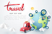 Time to travel, Paper art of red car and pinned landmarks world, vector art and illustration.