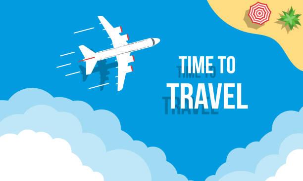 Zeit zum Reisen, Promotion oder Angebot von Banner oder Plakaten, flache Vektor tropische Landschaft Illustration – Vektorgrafik