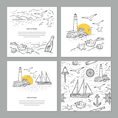 Time to travel sketch vector set illustrations. Seamless marine pattern and templates with vector sailboat,lighthouse, bottle, seagulls and sea.