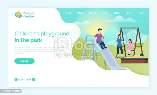 Children playground in park web, child moving down hill, character in casual clothes, girl sitting on wooden swing, portrait view of people outdoor vector