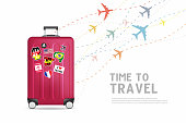 Time to travel. Traveling luggage bag banner template. Travel and tourism concept.