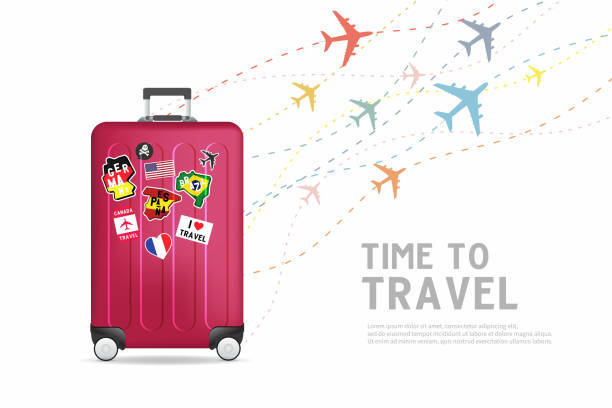 Time to travel. Traveling luggage bag banner template. Travel and tourism concept. vector art illustration