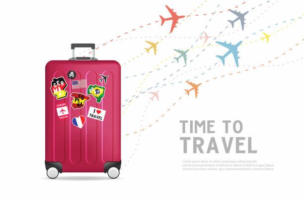 ilustraciones, imágenes clip art, dibujos animados e iconos de stock de hora de viajar. bolsa de equipaje de viaje plantilla de banner. concepto de viaje y turismo. - viaje a sudamérica