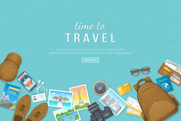 旅行、度假、旅行的時間到了。旅行計畫、準備、裝箱單、預訂酒店。照片、機票、護照、行李、錢包、指南針、鞋子、帽子。頂視圖 - 旅行 幅插畫檔、美工圖案、卡通及圖標