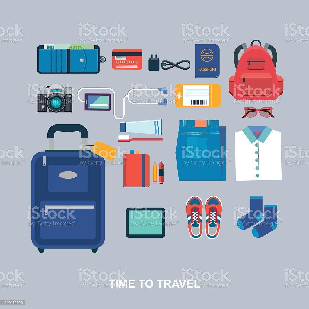 Time to travel vector flat illustration vector art illustration