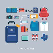 Time to travel vector flat illustration