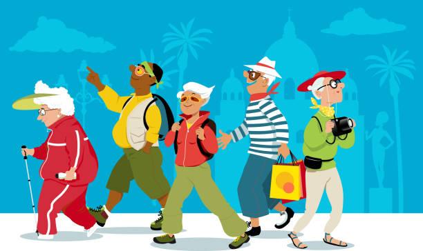 bildbanksillustrationer, clip art samt tecknat material och ikoner med tid att resa - aktiva pensionärer utflykt