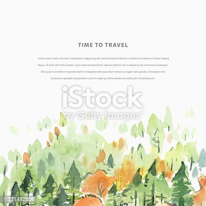 istock Time to Travel watercolor autumn hand draw vector illustration with coniferous forest. Travel template 1331112856
