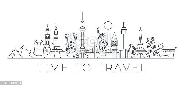 World Skyline - Famous Buildings and Monuments.. Travel Landmark Background. Vector Illustration