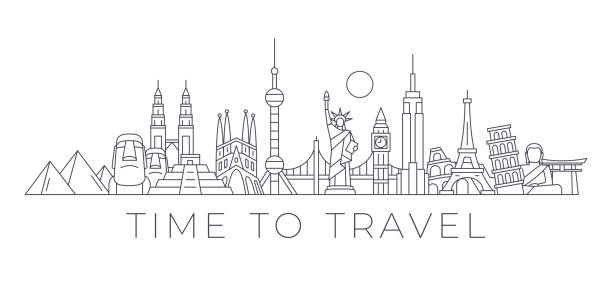Time to Travel - World Skyline - Famous Buildings and Monuments.. Travel Landmark Background. Vector Illustration World Skyline - Famous Buildings and Monuments.. Travel Landmark Background. Vector Illustration pudong stock illustrations