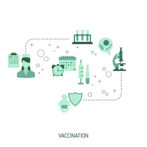 time to vaccinate - flu shot stock illustrations