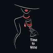 Vector white outlined lady silhouette with graphic glass of wine on black background with a place for your text. Element for your design logo, poster , menu, etc. Wine and grape festival concept.