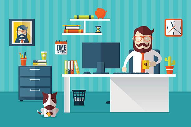 zeit zum arbeiten - arbeitshunde stock-grafiken, -clipart, -cartoons und -symbole
