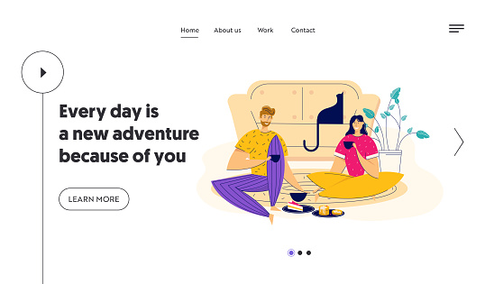 Time Together Concept with Happy Couple Eating Breakfast Landing Page. Man and Woman Having Lunch at Home. Boyfriend and Girlfriend Romantic Dating Website, Banner. Vector flat cartoon illustration