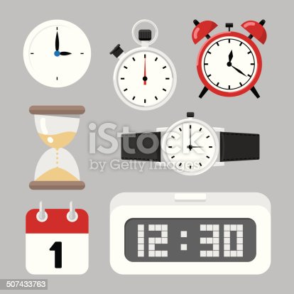 Calendar and clock illustrations.