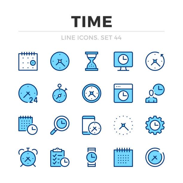 stockillustraties, clipart, cartoons en iconen met tijd vector lijn iconen set. dun lijn ontwerp. overzicht van grafische elementen, eenvoudige stroke symbolen. tijd iconen - vluchtschema