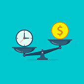 Time vs money on scales illustration. Money and time balance on scale. Weights with clock and money coin. Vector isolated concept icon