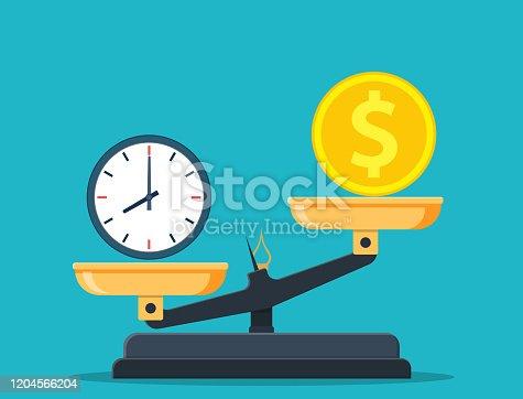 istock Time vs money on scales 1204566204