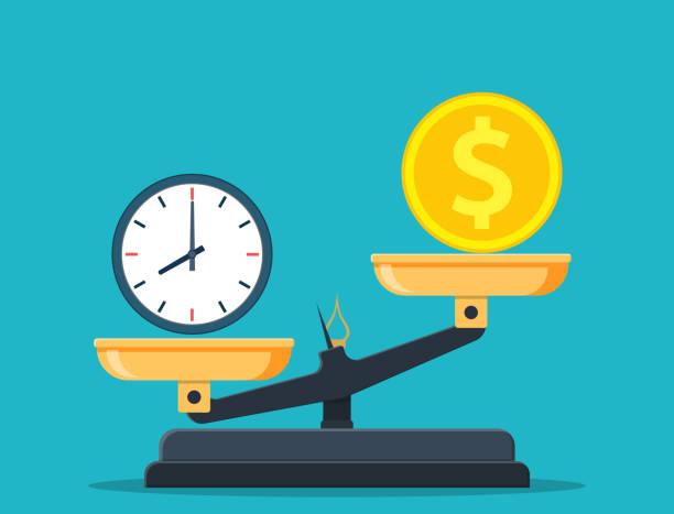 illustrazioni stock, clip art, cartoni animati e icone di tendenza di time vs money on scales - proporzione