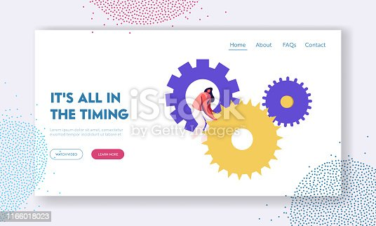 Time Website Landing Page, Tiny Woman Character Turning Huge Gears and Cogwheels Mechanism of Clocks or Watch, Generating Ideas, Working Process Web Page. Cartoon Flat Vector Illustration, Banner