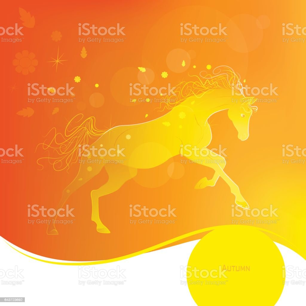 Time year - autumn. Brightly glowing vector illustration of a galloping horse. Juicy yellow orange background. Design elements