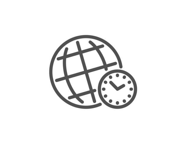 bildbanksillustrationer, clip art samt tecknat material och ikoner med ikon för tids zons linje. världs klocka underteckna. titta. vektor - tidszon