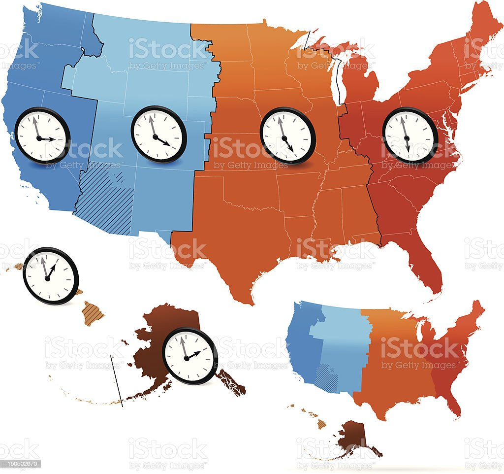 Usa Time Zone Map Stock Vector Art IStock - Us time zone map with times