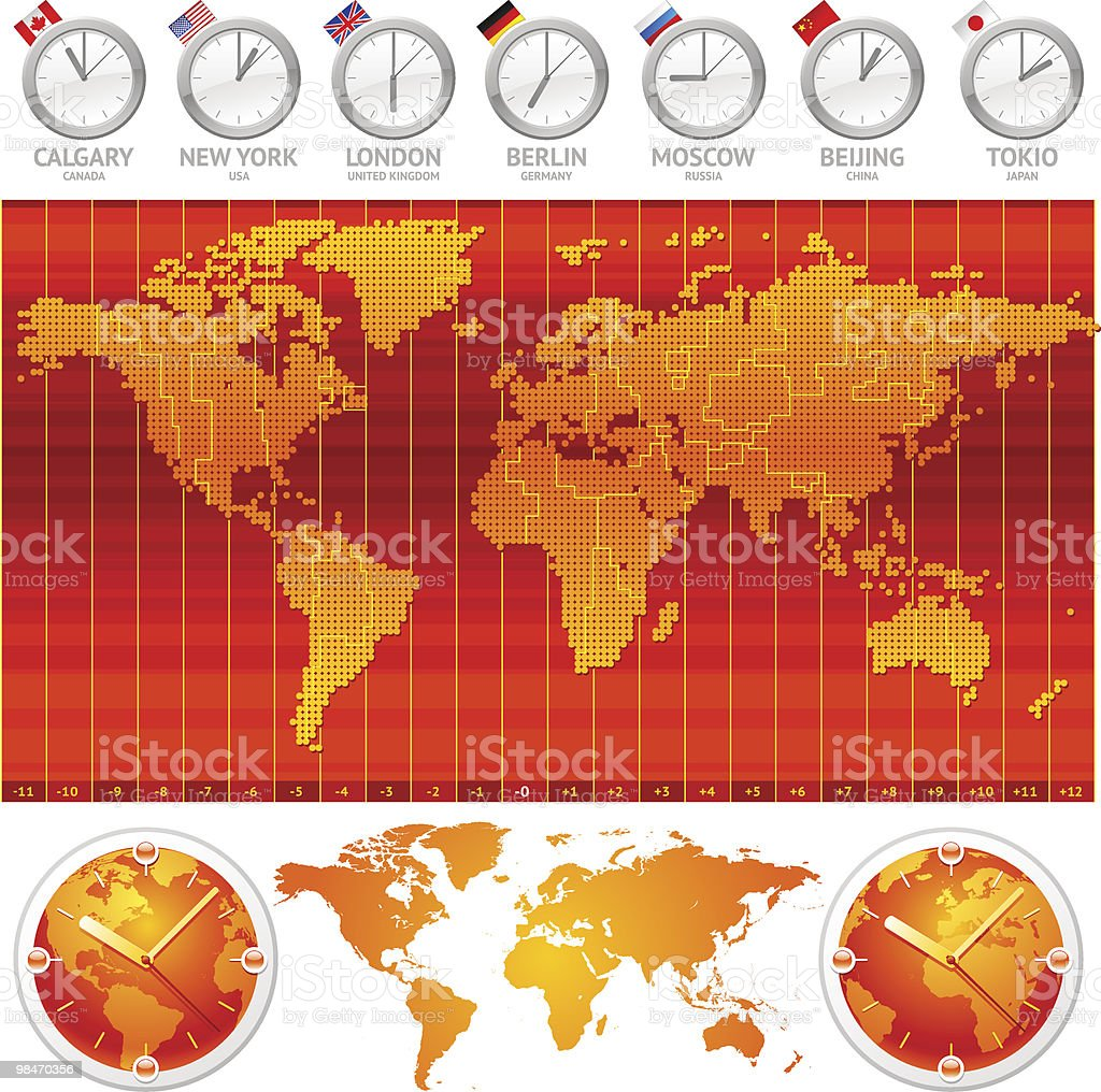 Time zones and clocks vector art illustration