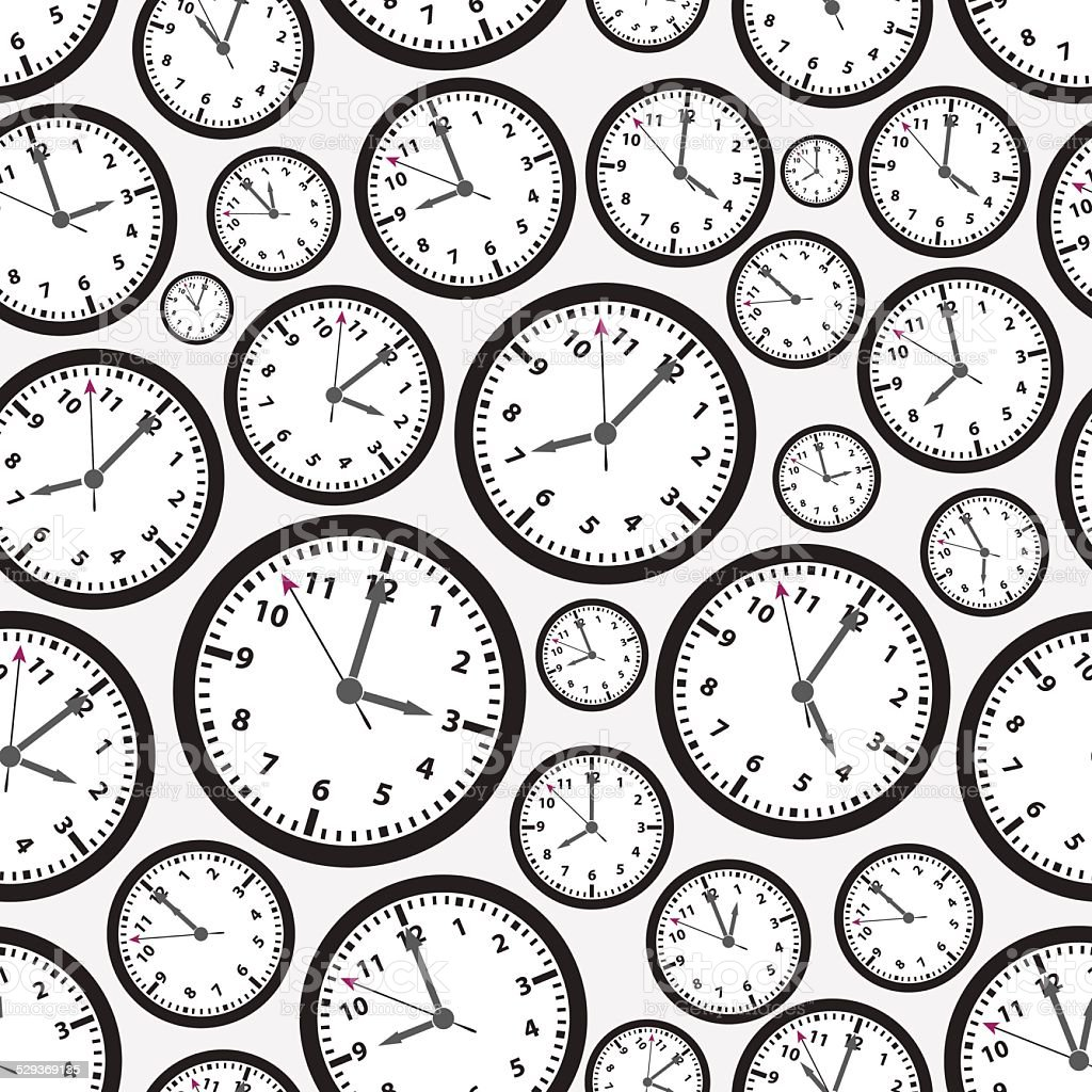 time zones black and white clock seamless pattern eps10 vector art illustration
