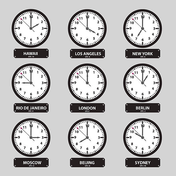 time zones black and white clock set eps10 vector art illustration