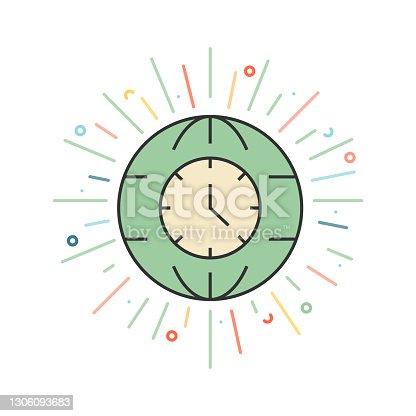 istock Time Zones Line Icon 1306093683