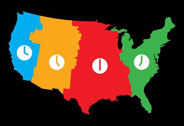 bildbanksillustrationer, clip art samt tecknat material och ikoner med usa time zones map - tidszon