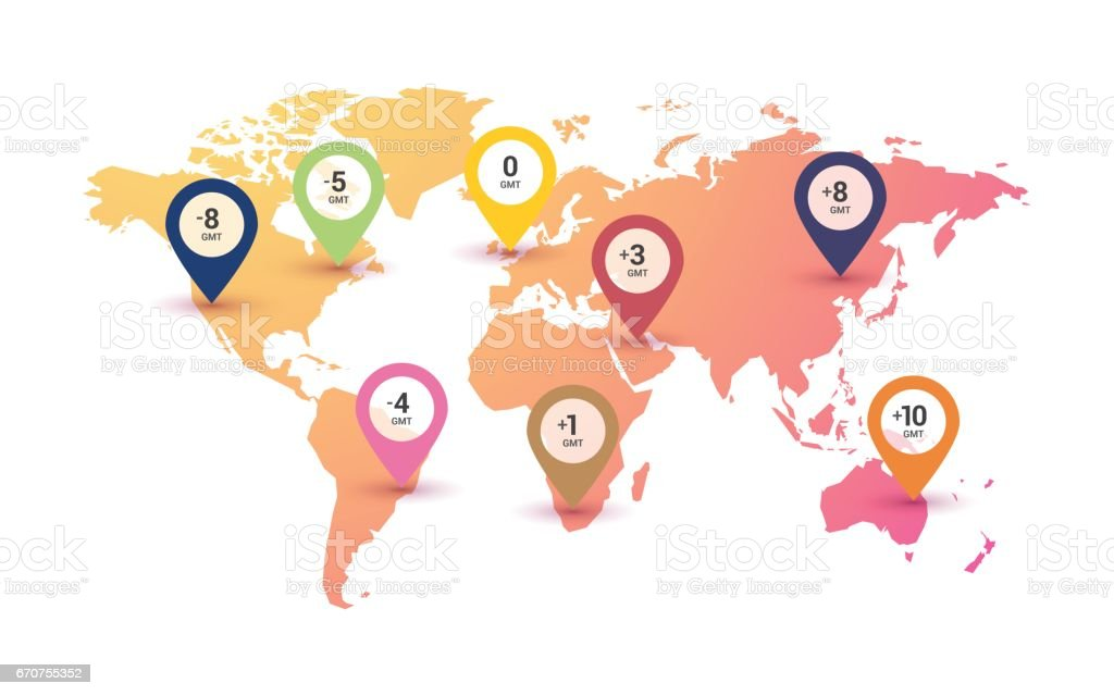 Time zones world map on color gradient background stock vector art time zones world map on color gradient background royalty free time zones world map on gumiabroncs Image collections