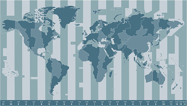 bildbanksillustrationer, clip art samt tecknat material och ikoner med time zones world map - tidszon