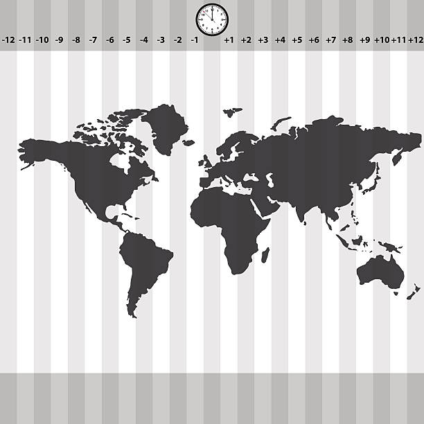 time zones world map with clock and stripes eps10 vector art illustration