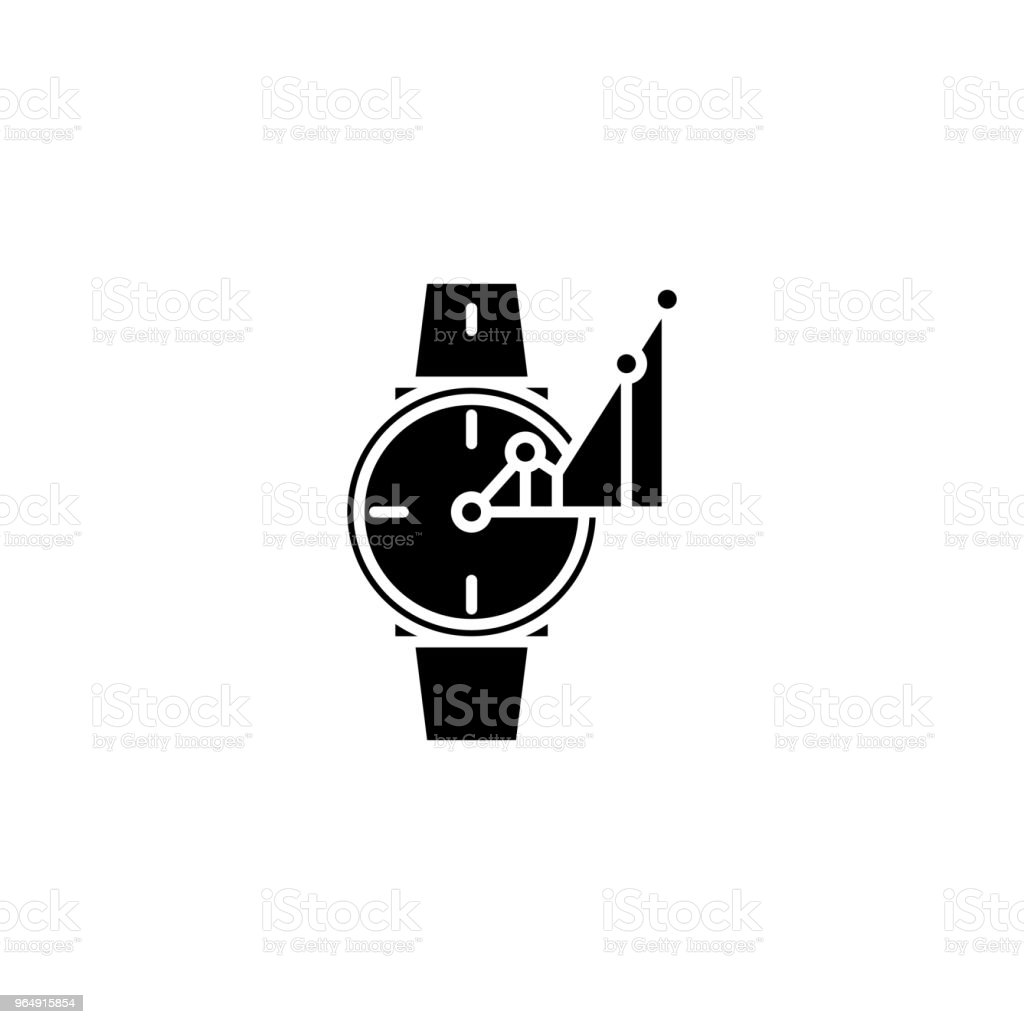 Time-keeper black icon concept. Time-keeper flat  vector symbol, sign, illustration. - Royalty-free Accuracy stock vector