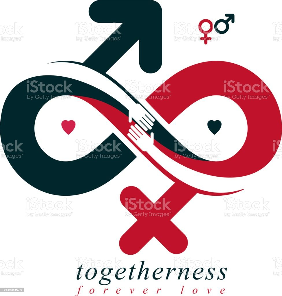Timeless Loving Couple Concept Vector Symbol Created With Infinity