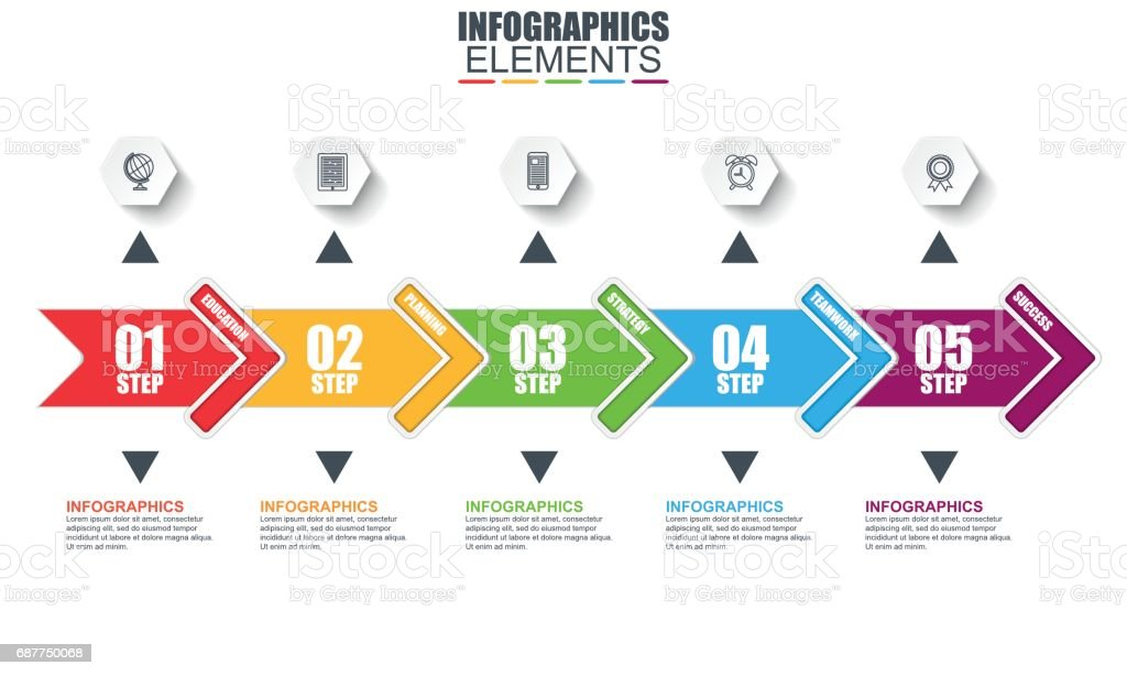 Timeline Arrow Infographics Vector Design Template Stock Vector - Timeline design template