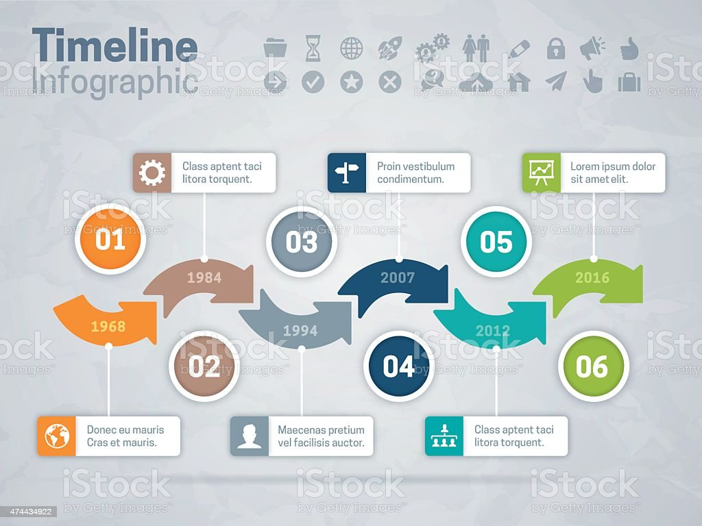 Timeline Arrows Concept Stock Vector Art & More Images of ...