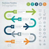 Business growth timeline concept infographic with space for your text and extra icons and symbols. EPS 10 file. Transparency effects used on highlight elements.
