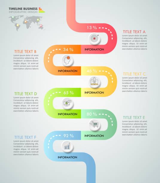 ilustraciones, imágenes clip art, dibujos animados e iconos de stock de calendario empresarial concepto infografía plantilla 6 pasos, puede utilizarse para el diseño de flujo de trabajo, número opciones, diagrama, proyecto línea de tiempo o ciclo. - infografías demográficas