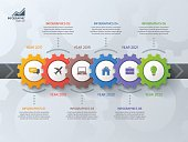 Timeline business infographic template with gears cogwheels 6 steps, processes, parts, options. Vector illustration.